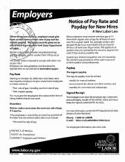 Employers Notice of Pay Rate and Payday for New Hires