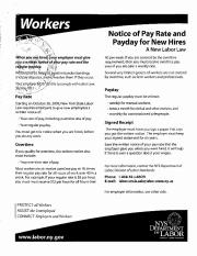 Workers Notice of Pay Rate and Payday for New Hires