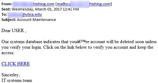 Image showing warning signs in a phishing message