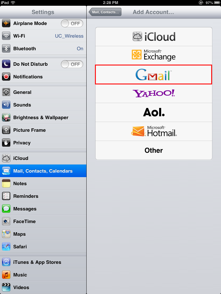 Add Gmail for iPad and iOS
