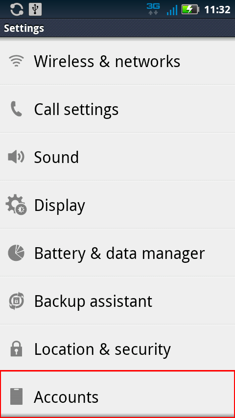 Accounts in Settings for Android