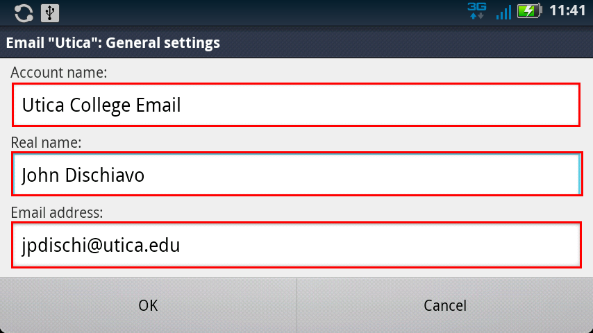 Email General Settings Android