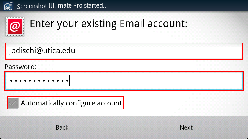 Enter your existing account info for Android