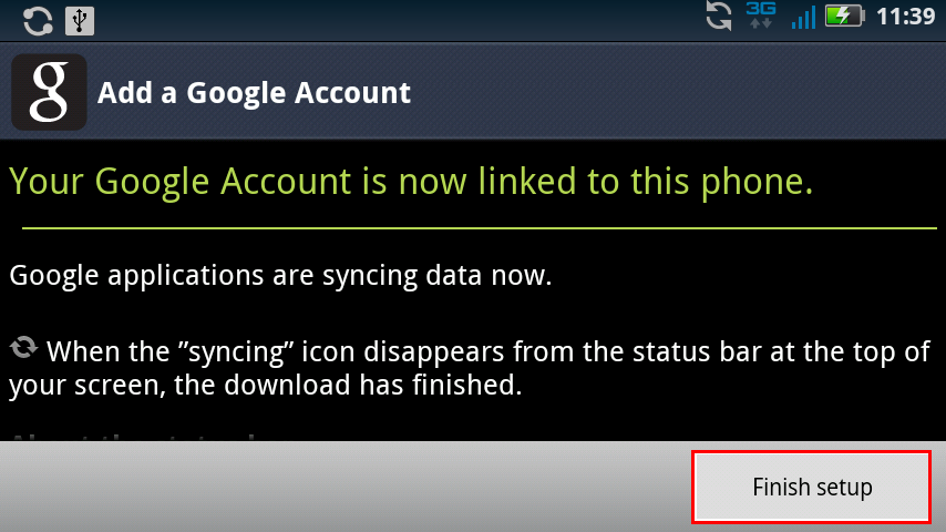 Finish Google Account Sync