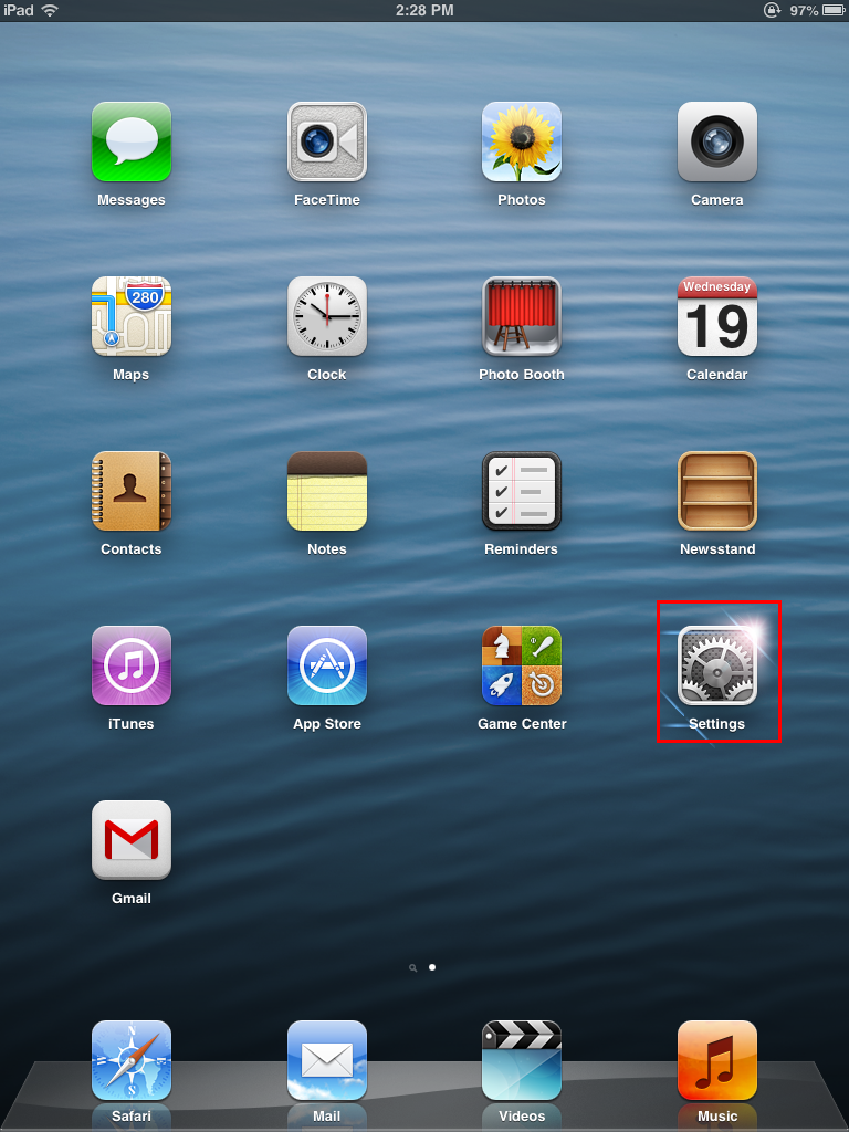 iPad Mini Home Screen - Settings