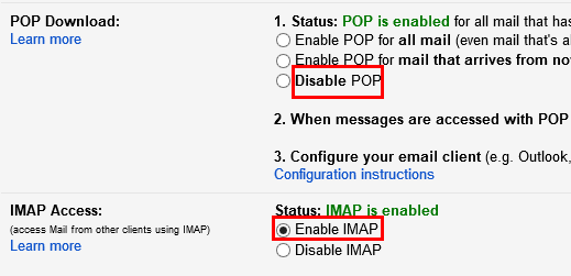 Enabling IMAP for UC Google