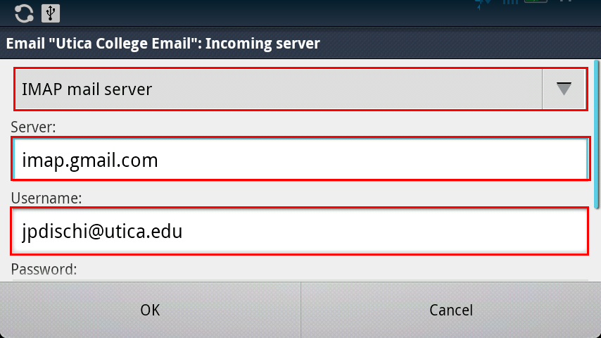 android imap email settings