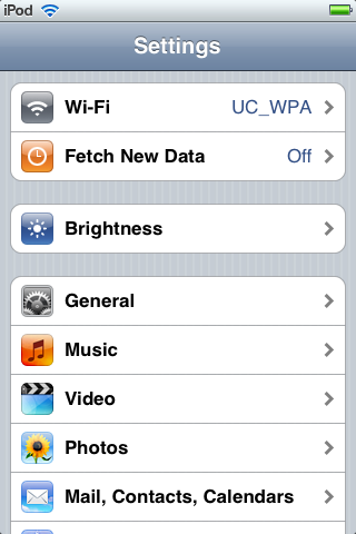Settings Screen