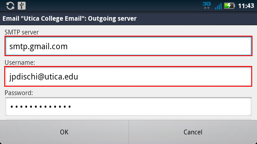 Android SMTP Email Settings
