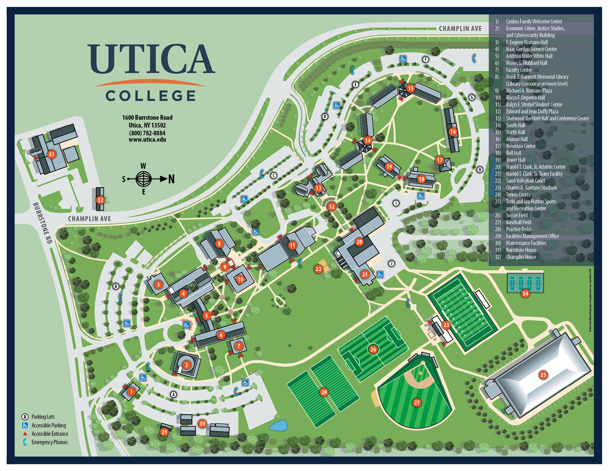 campus map utica college. Black Bedroom Furniture Sets. Home Design Ideas