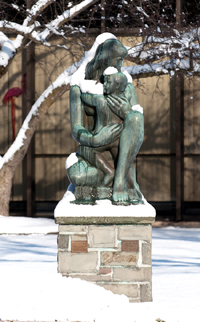 Mother and Child sculpture on academic quad