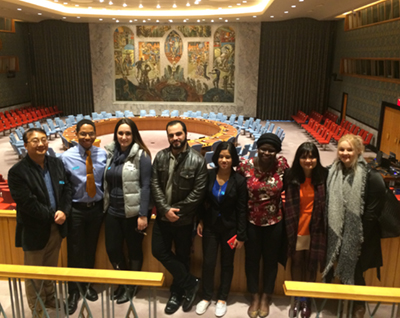 Professor Kwan and Students at United Nations headquarters