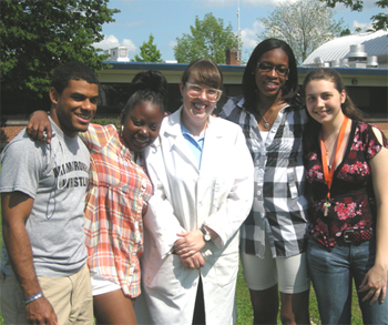CSTEP students with UC Associate Professor of Chemistry Michelle Boucher