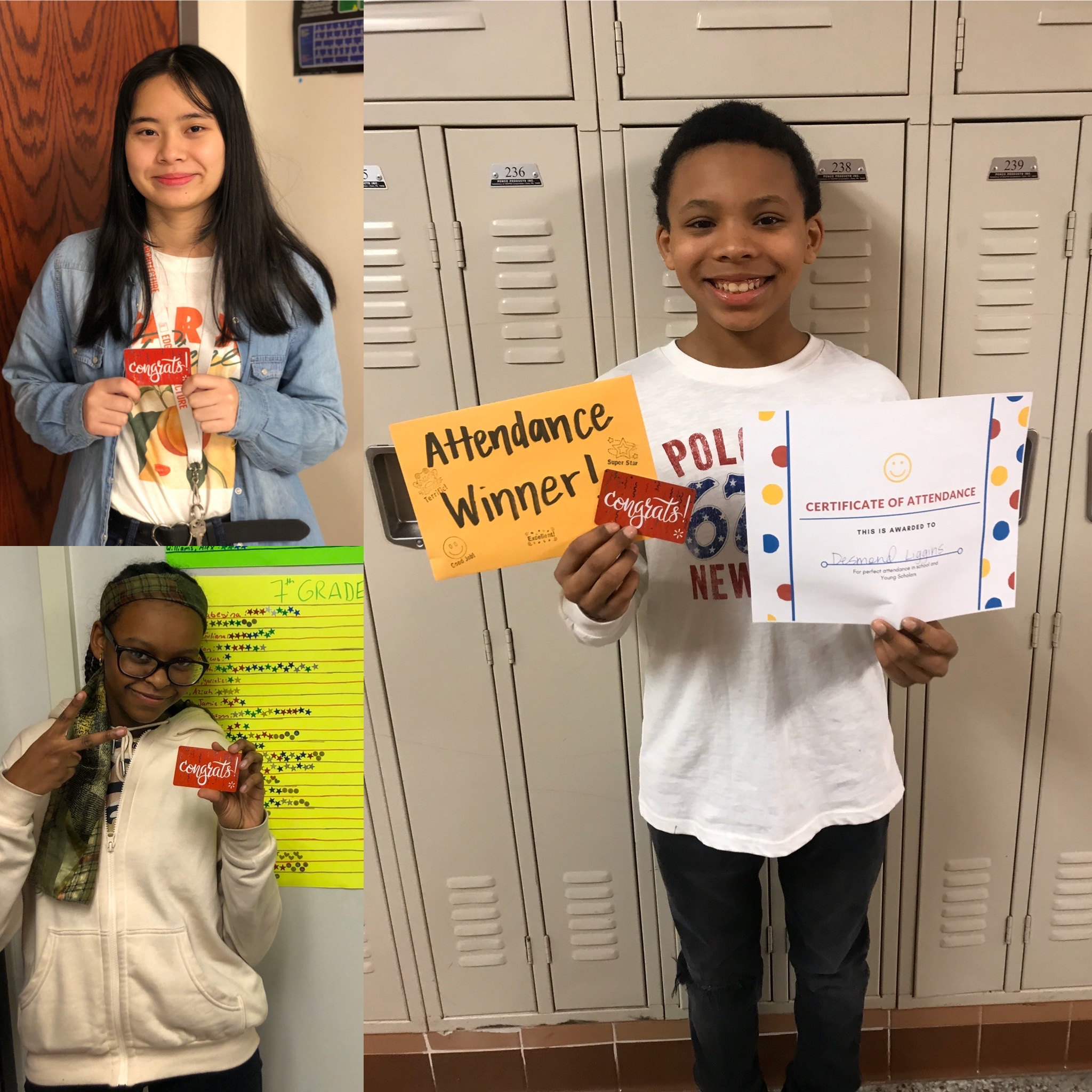 3 students pose with their Target Gift cards rewarding good attendance