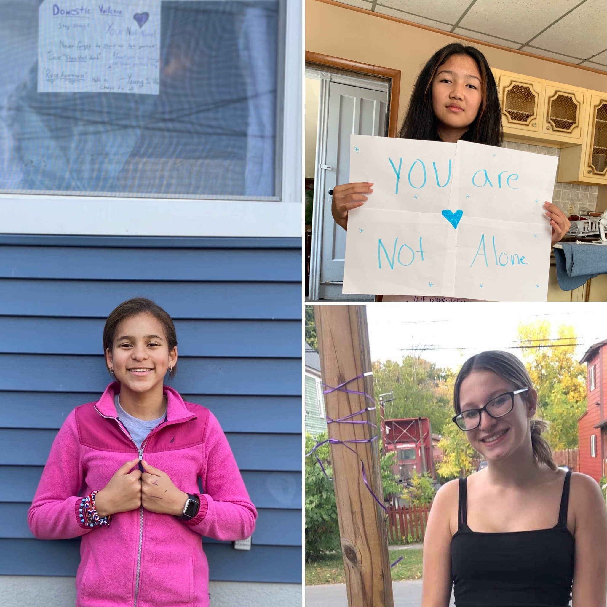 3 photo collage of Young Scholars students with purple ribbons and signs of support for domestic violence survivors.
