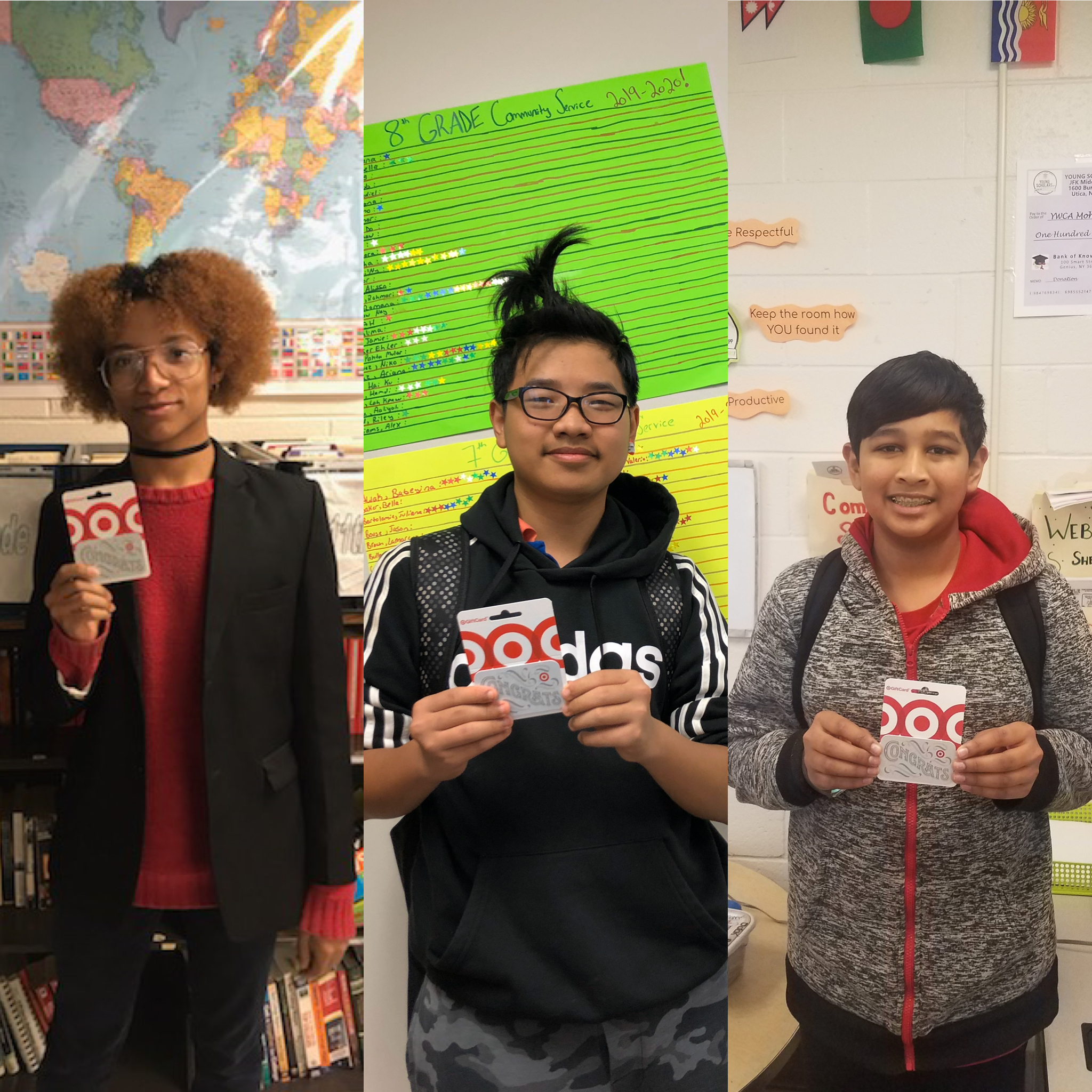 Three Young Scholars are pictured with Target gift cards as an award for good attendance