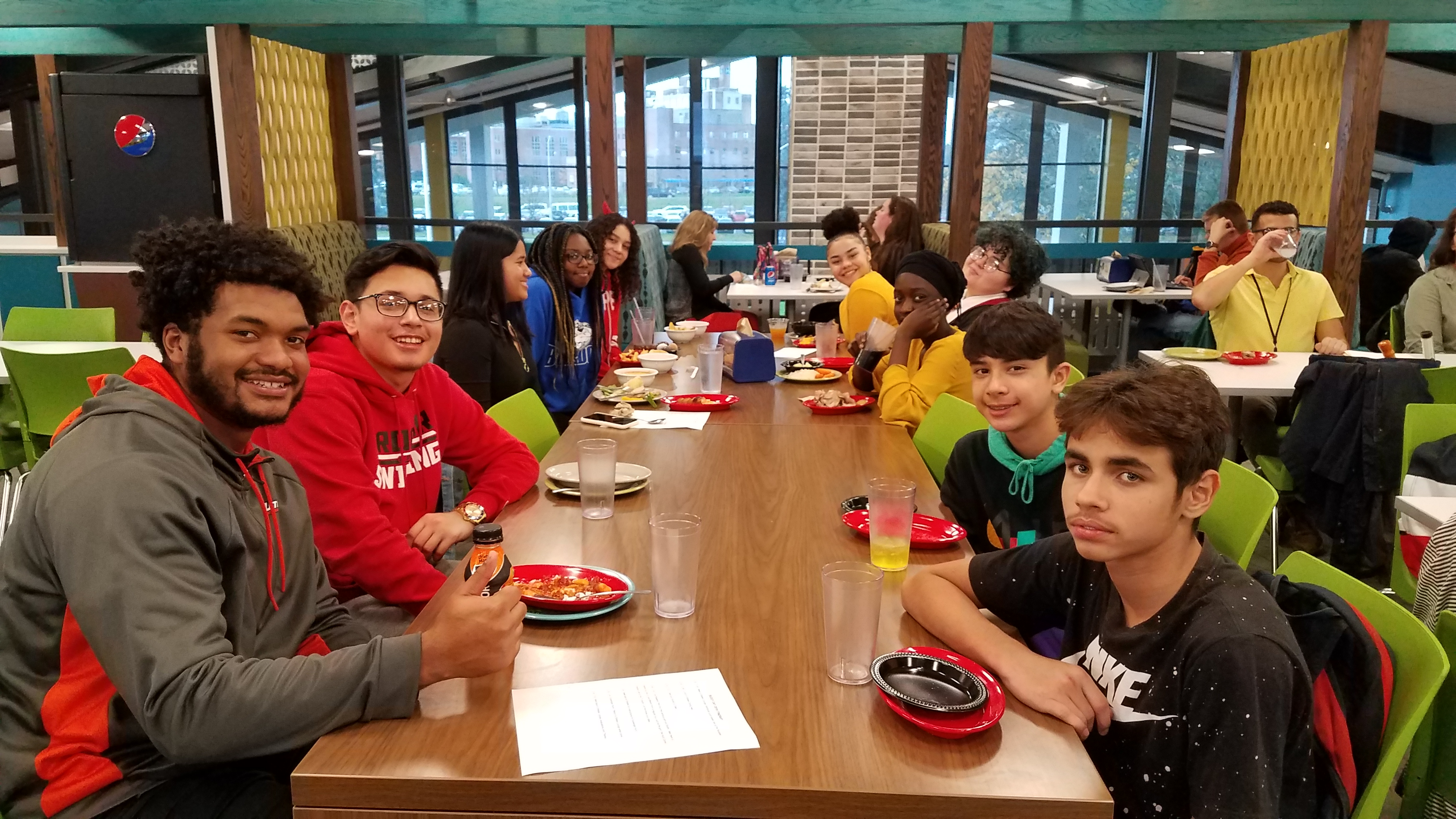 8th Grade Young Scholars enjoying lunch at Utica College for Buddy Day