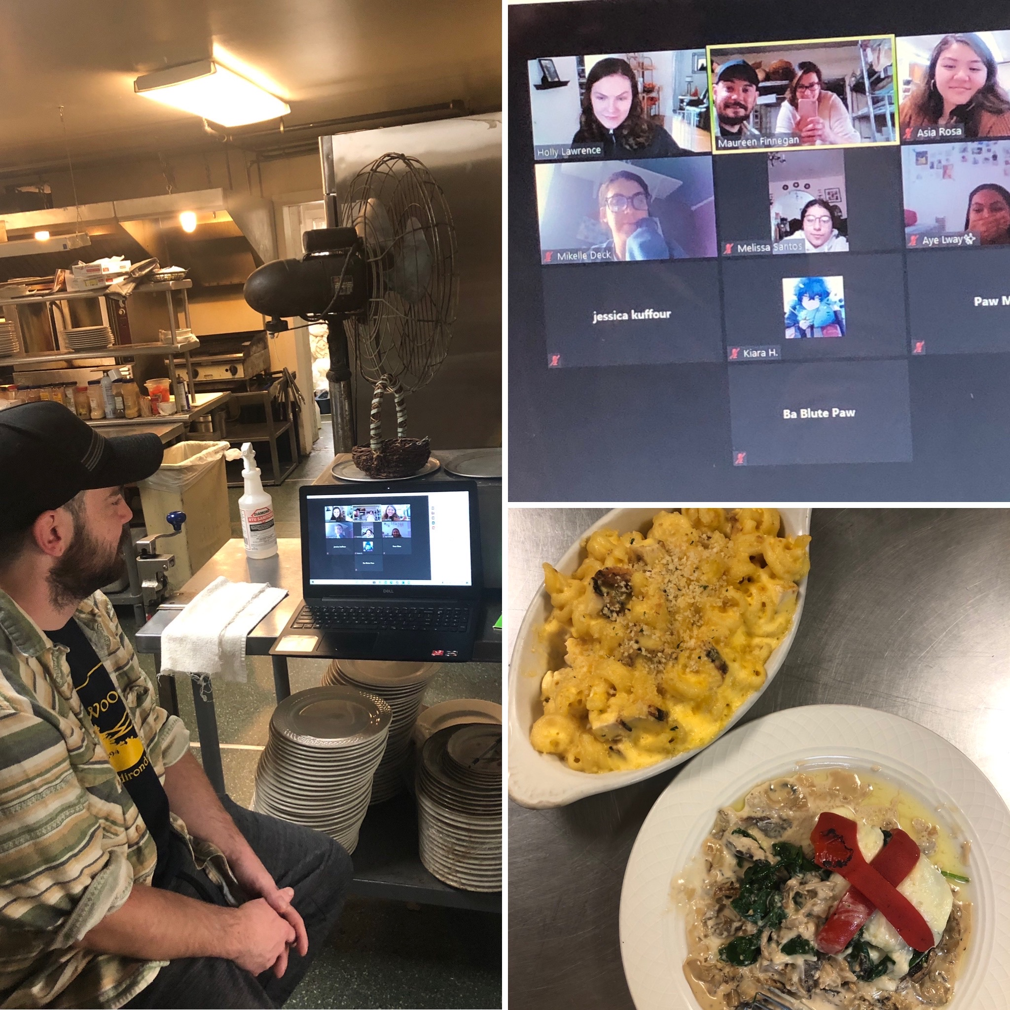 Three photos of the YSLPP virtual career visit with Woods Inn sous chef.