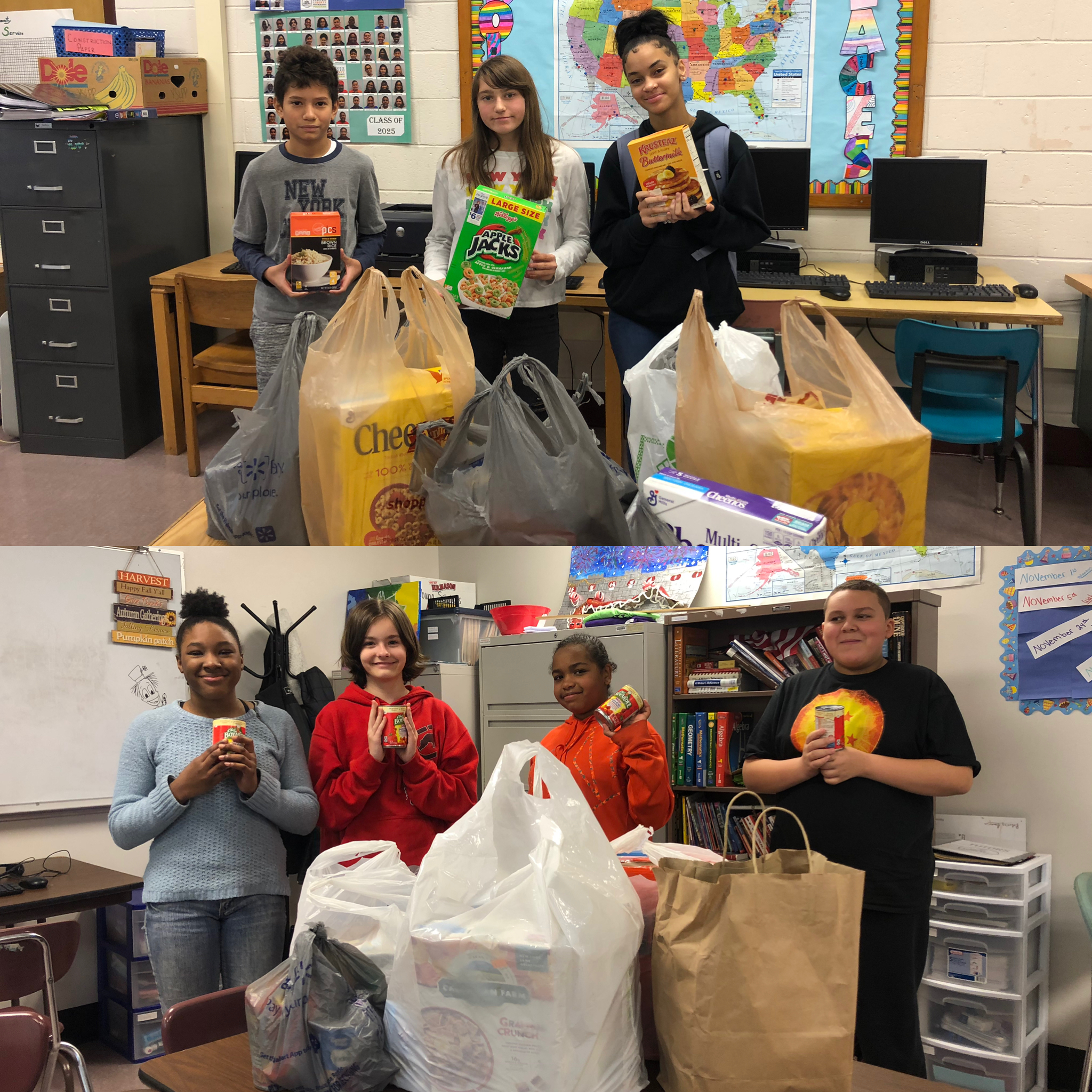 YSLPP students show off food donations collected at Donovan and JFK middle schools.