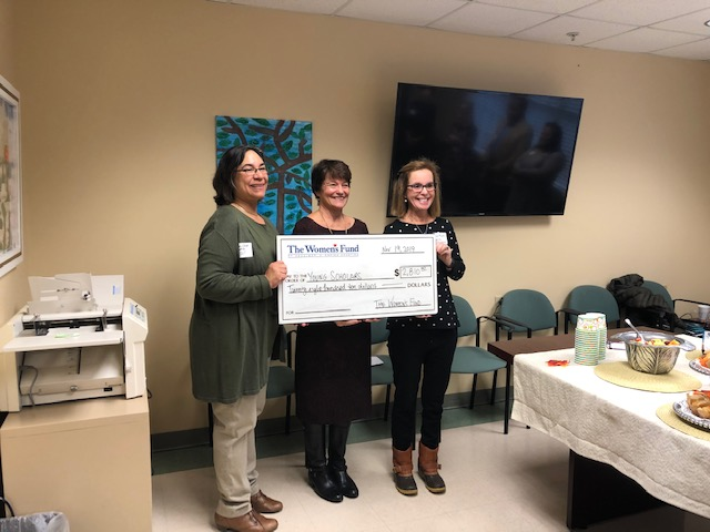 The Women's Fund of Herkimer and Oneida Counties presents a check to Mary Hayes Gordon and Pamela Matt to support the YSLPP Near Peer Mentoring Program.