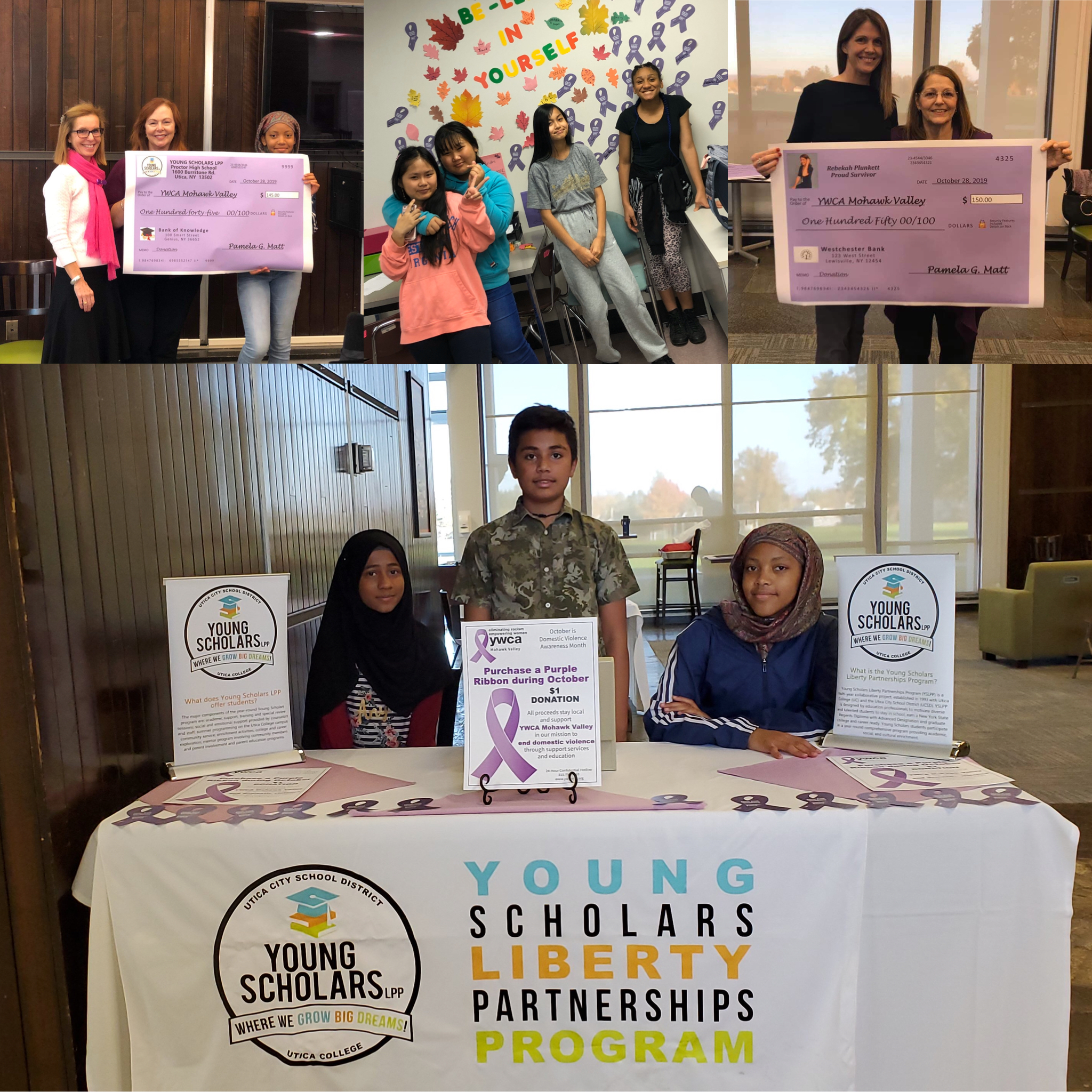 Collection of photos of the Young Scholars and YWCA partnership for domestic violence awareness month