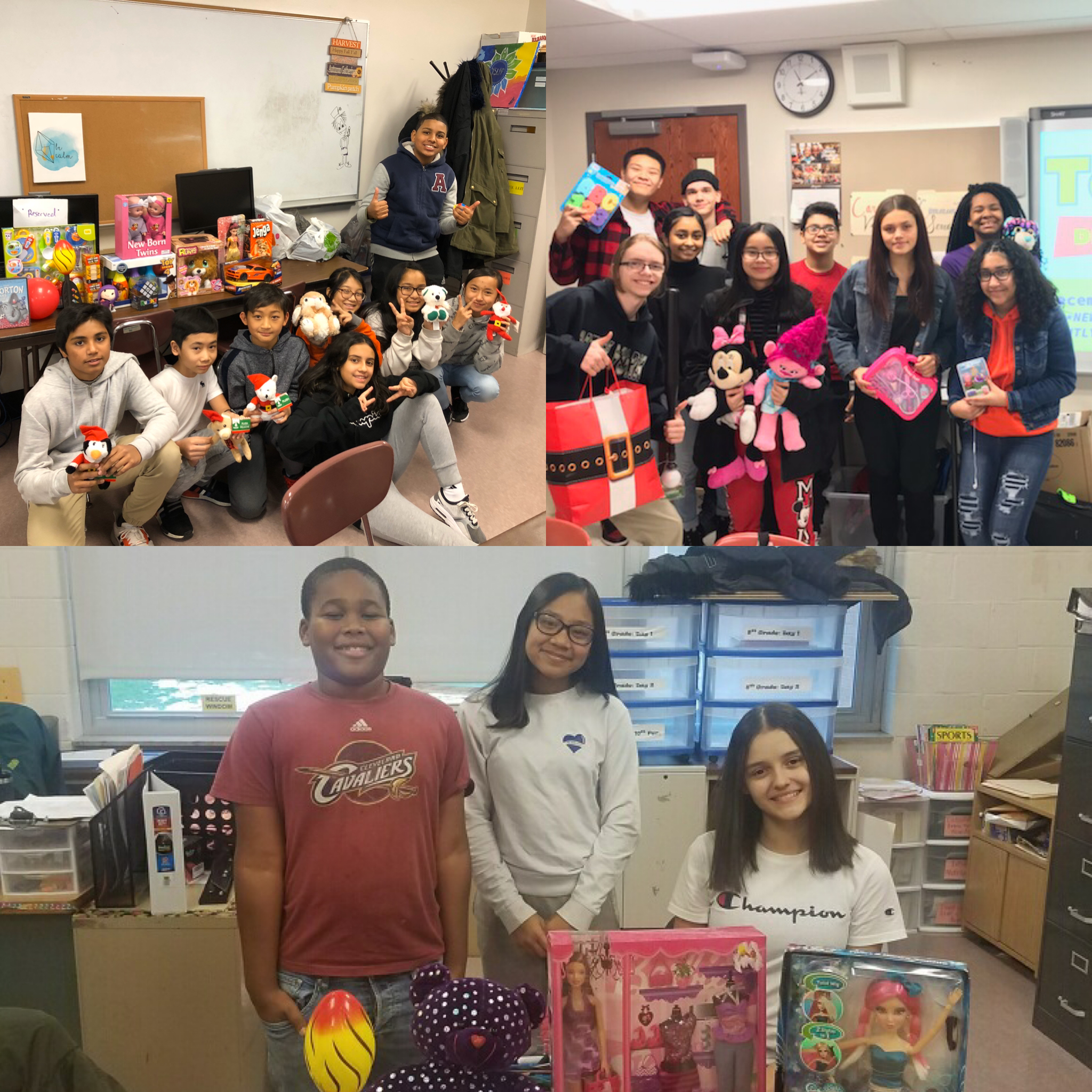 Young Scholars at all three sites pose with toy donations they collected for Toys for Tots