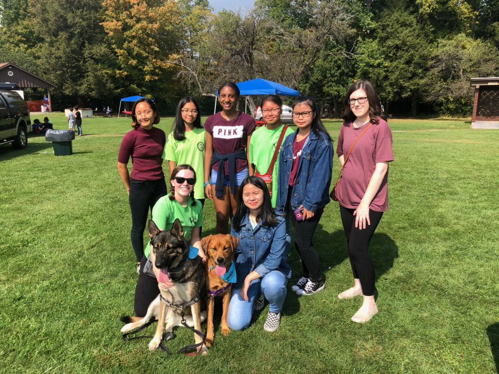 YSLPP students, staff, and staff dogs at the Wiggle Waggle Walkathon