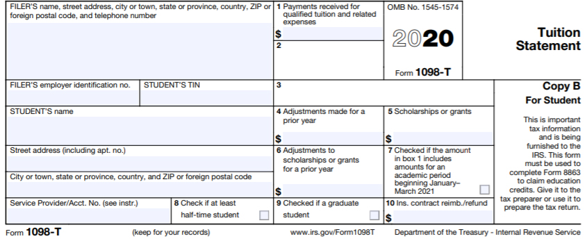IRS 1098-T Tax Form for 2020