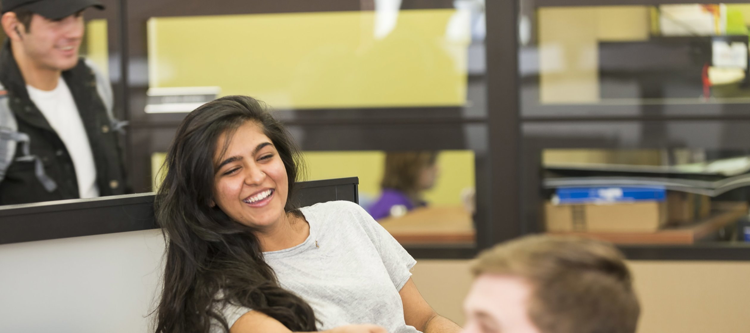 Smiling Students in Library Studying 027