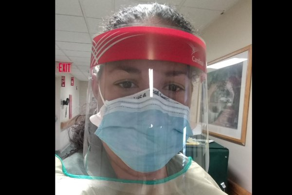 Melissa Ortiz Dorset in face mask and shield in hospital.