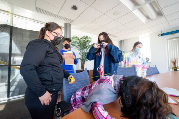 Students take part in a crime scene exercise for Criminal Justice program.