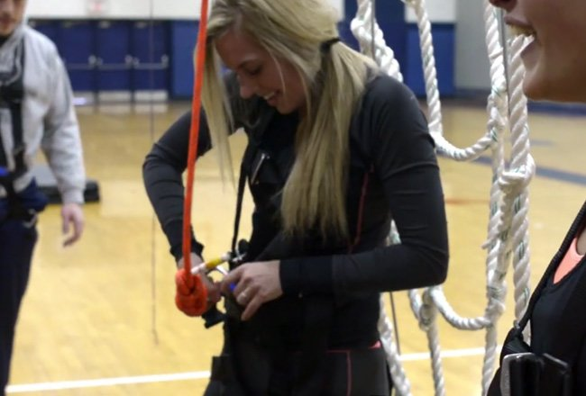 Student finishes Ropes Course