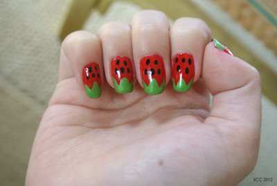 The strawberry nails I did