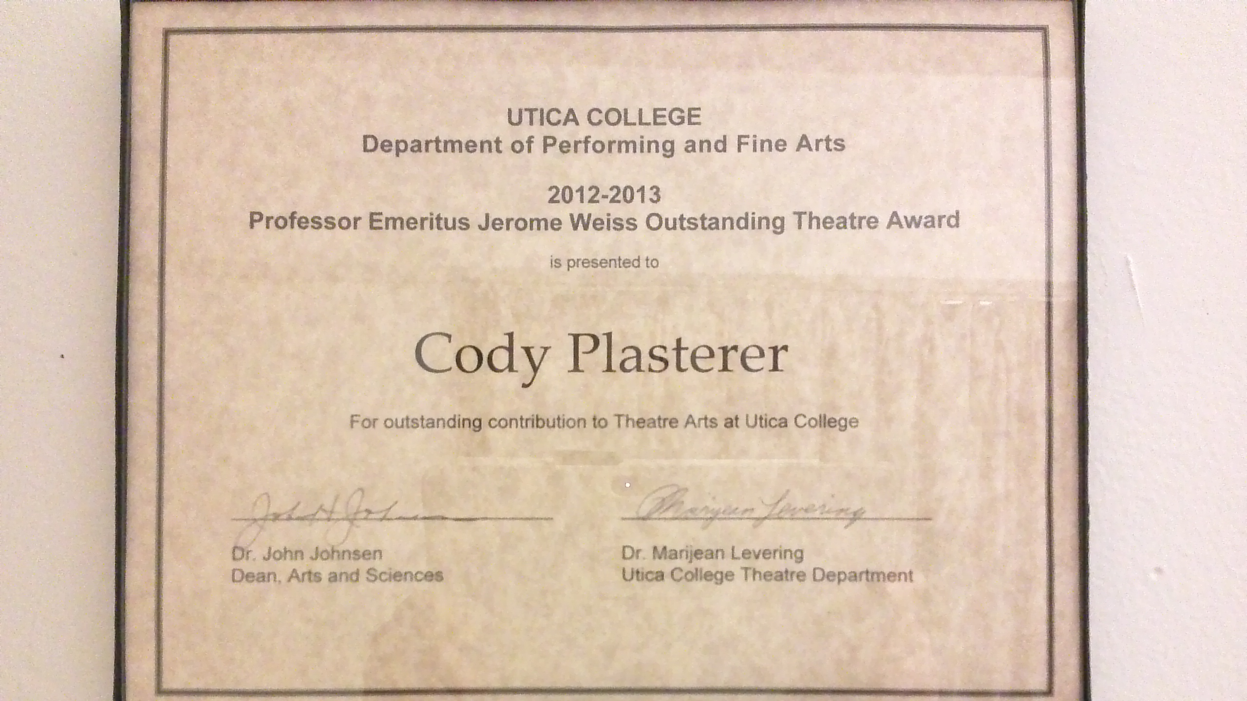 The award I got in 2013 at the Student Recognition Brunch
