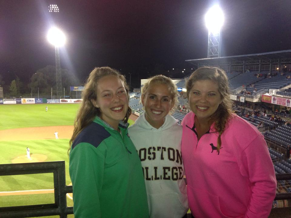 Melissa, Whitney, and I at a Syracuse Chiefs game this summer (2014). Just hanging out together like we used to helps us feel better when its time to go our separate ways for the semester.