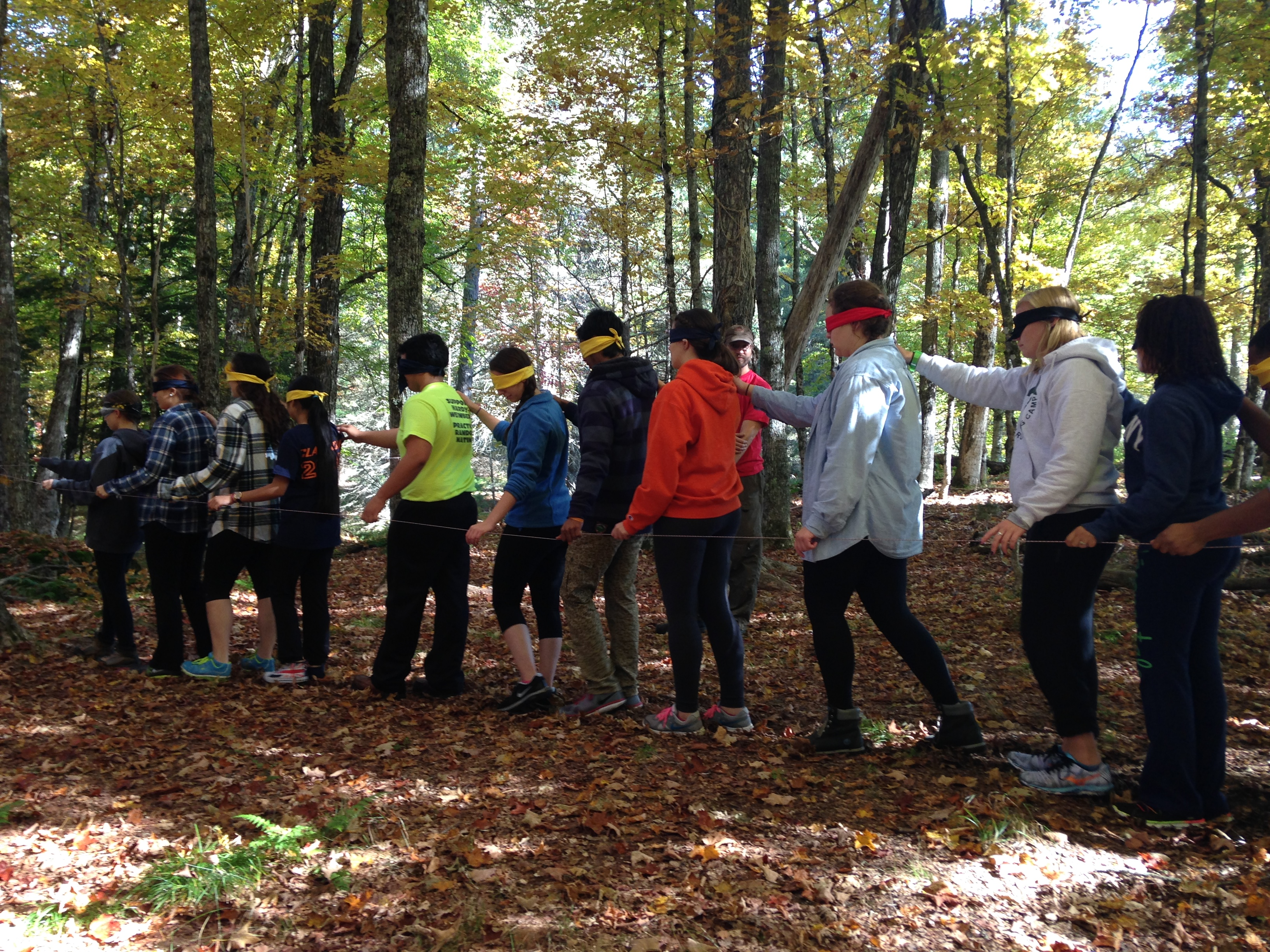 (One of the low ropes course obstacles was being led around while wearing a blindfold...while your teammates also had on blindfolds.)