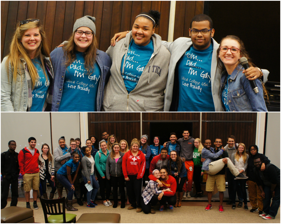 GSA's e-board (above), GSA members along with some students who attended the event (below).