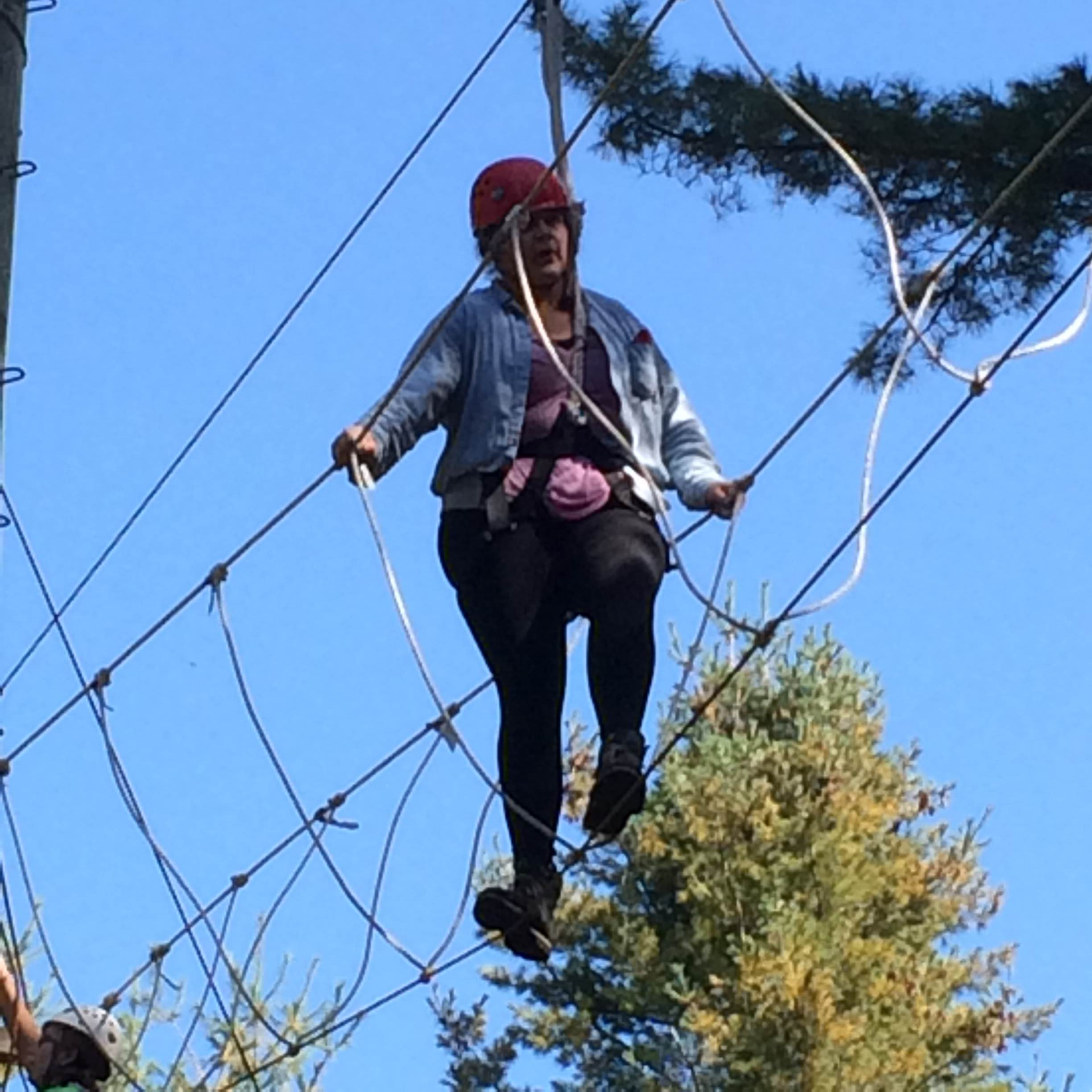 (I was terrified of going up on the ropes, but I was proud of myself that I did it.)