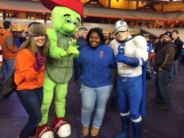 Karita LOVED meeting the mascots. It was hard to get her to leave them in order to get back to our seats for the game!