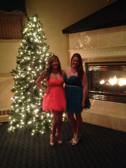 My best friend Sarah and I were really excited to have an occasion to wear fluffly, sparkly dresses!