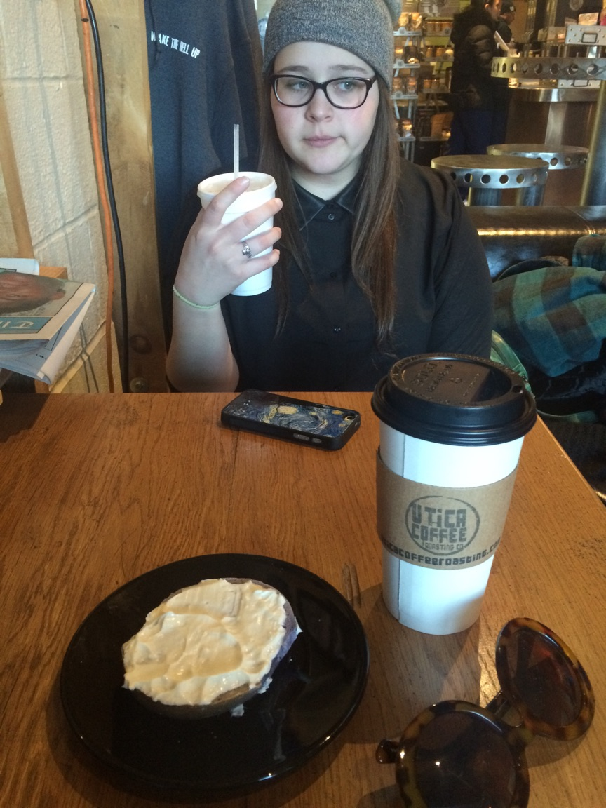 (On this day I went with a friend and she had a traditional coffee and bagel, while I tried a frozen green tea. It was delicious, and I highly recommend it.)