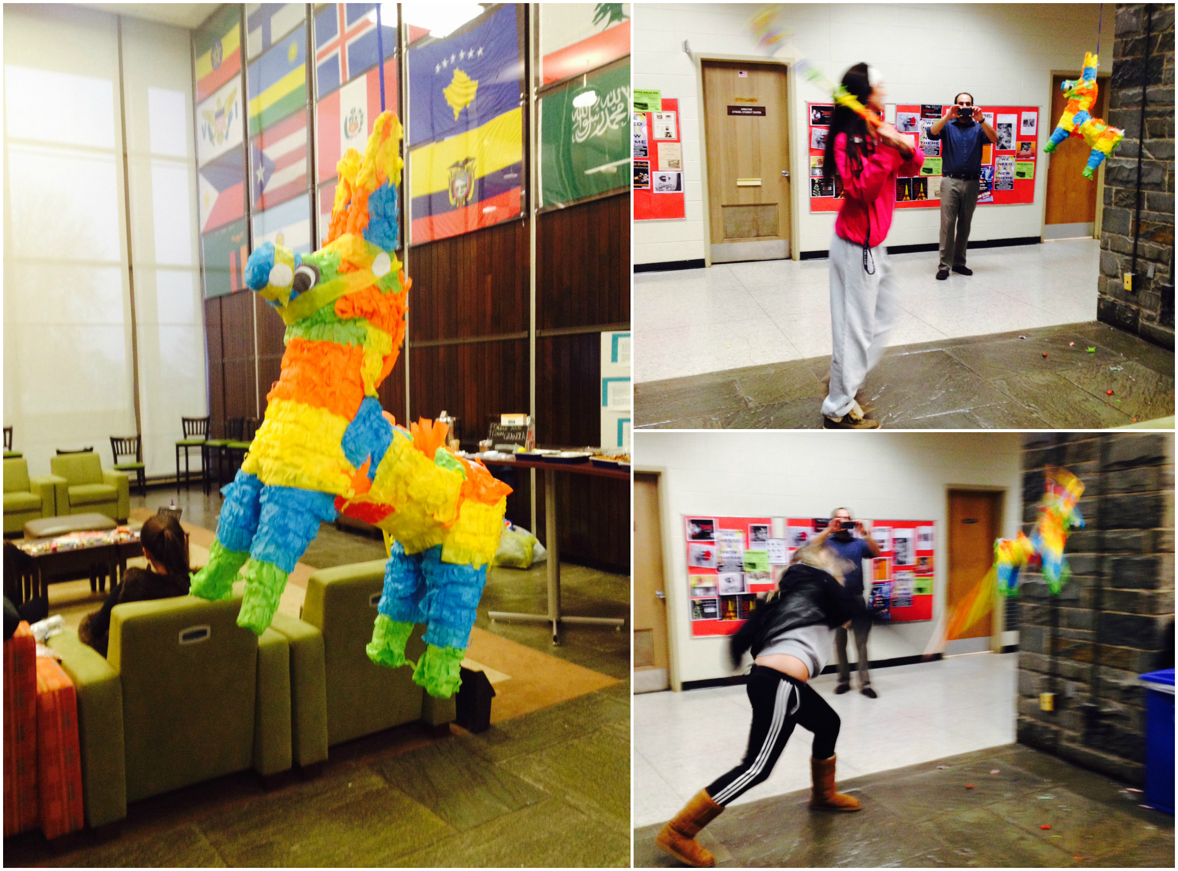 Two of my residents giving a swing at the piñata!