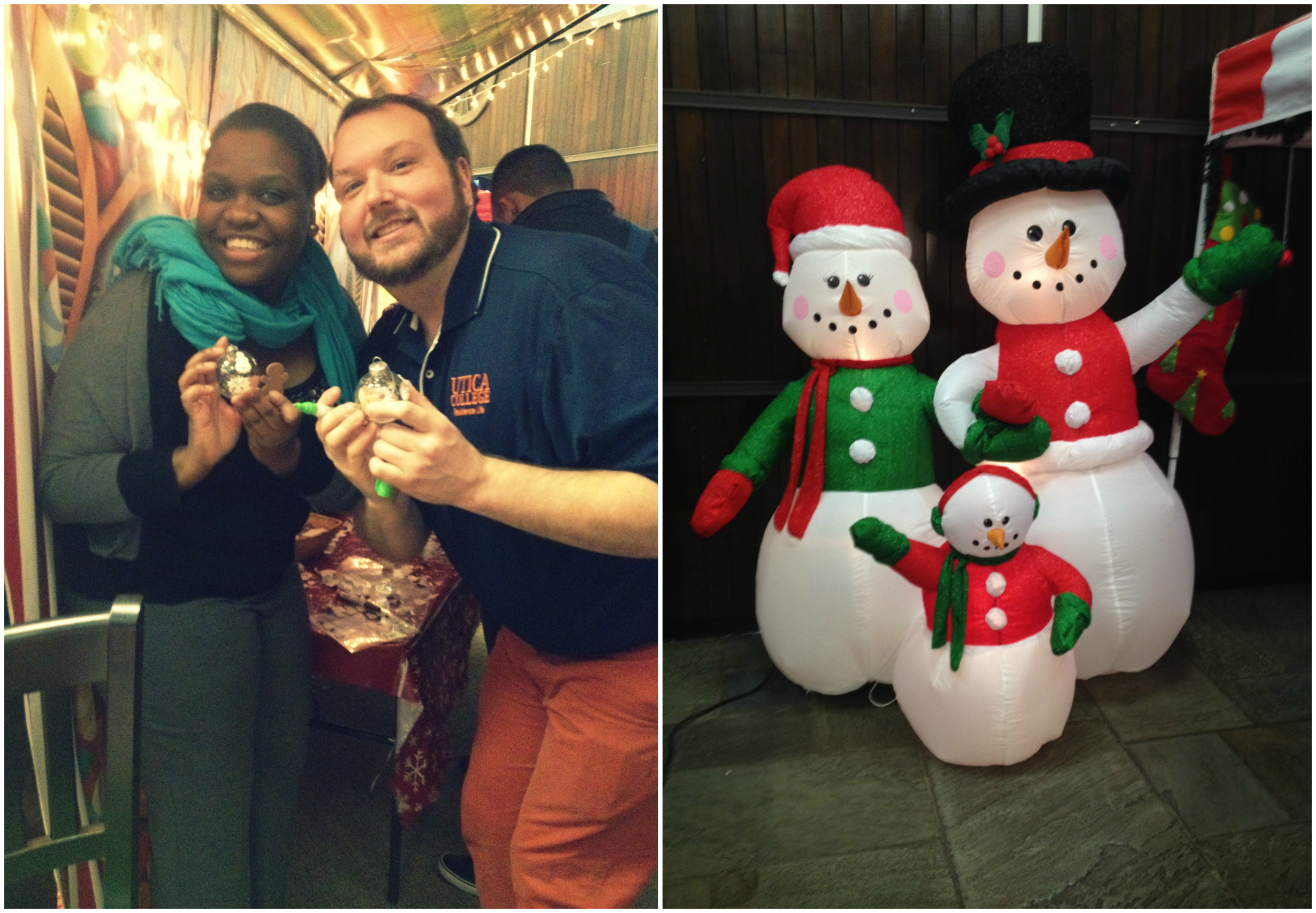 The lovely Courtney Witherspoon and amazing Derek Pooley making some ornaments (left). Some happy snowmen jazzing up Strebel (right).