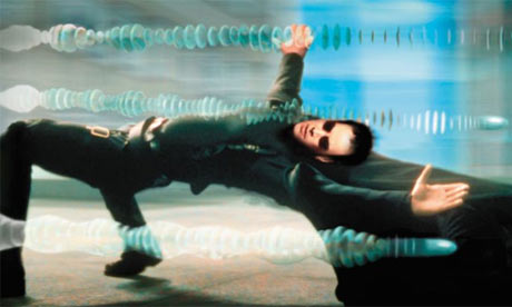 Me dodging stress.  *kidding* it's Keanu Reeves in The Matrix The Matrix, 1999. [film, DVD]. Directed by Andy Wachowski and Lana Wachowski. USA: Warner Bros.