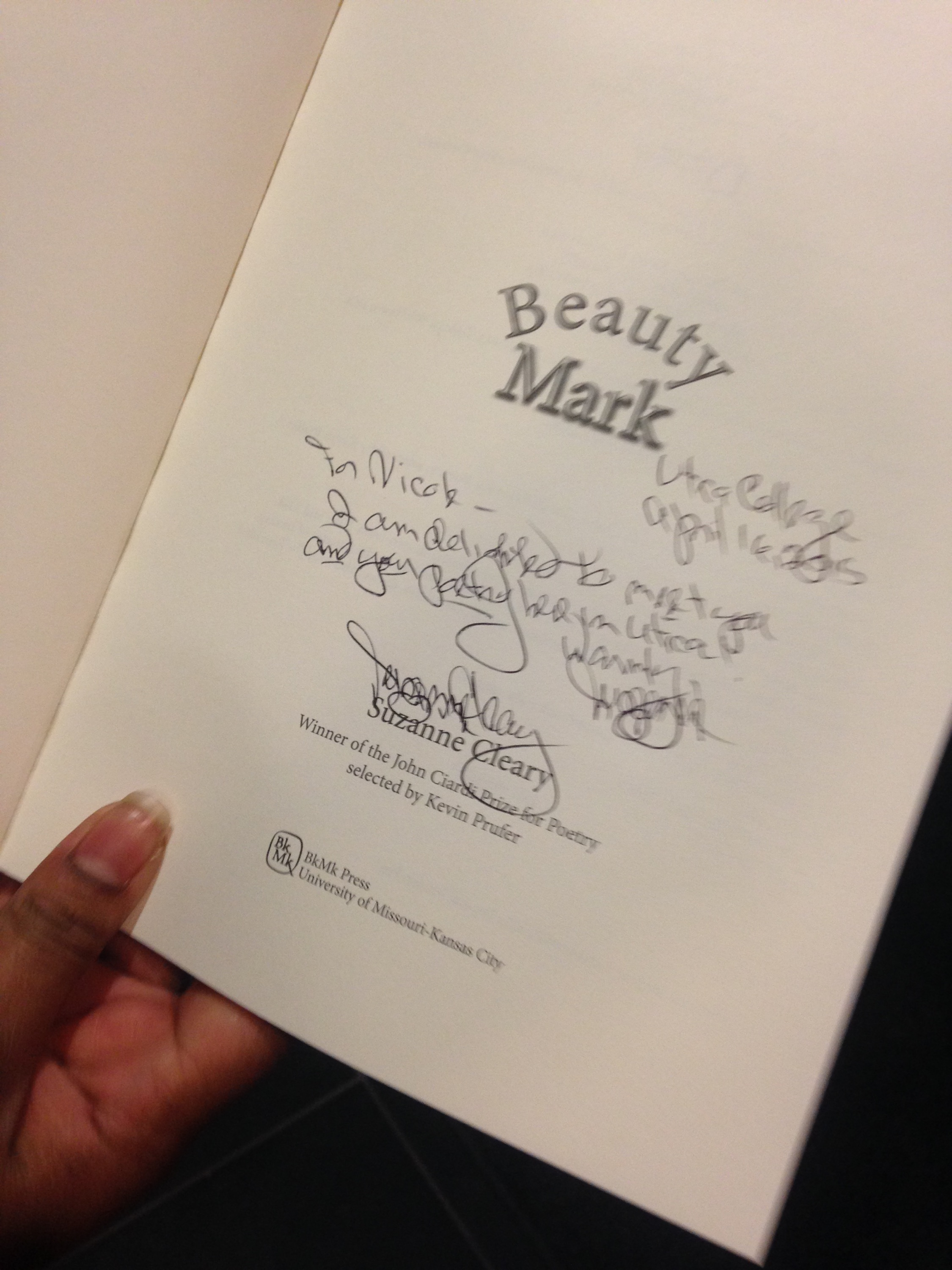 Another shot of Nicole's personalized copy of Beauty Mark.
