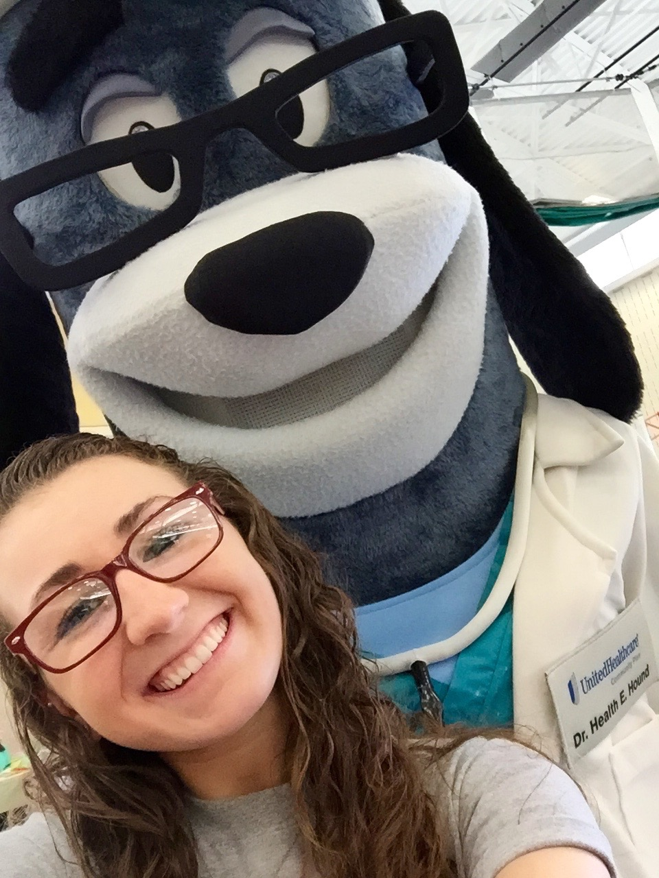 Selfie with Dr. Health E. Hound!