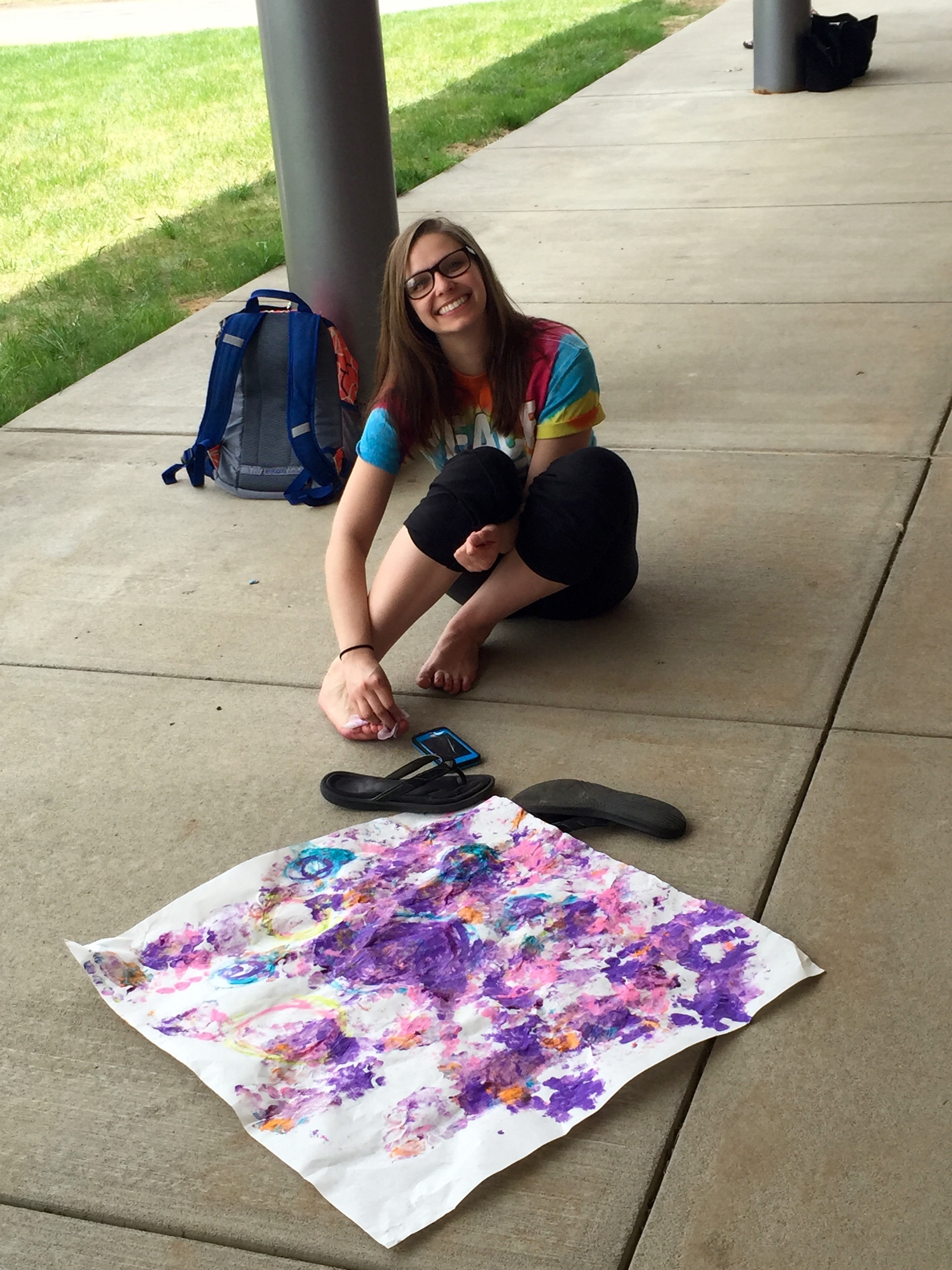 Dana Simpson used her feet to create her awesome piece of art!
