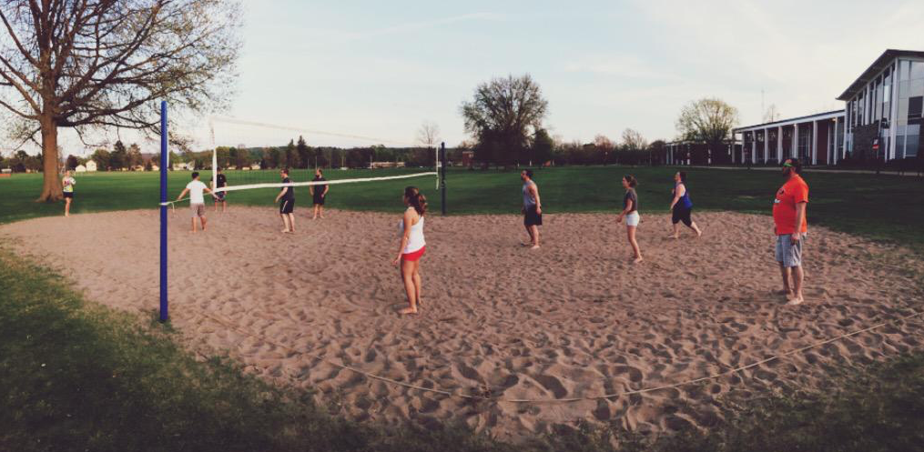 Evening game of volleyball with some friends and professional Residence Life staff!
