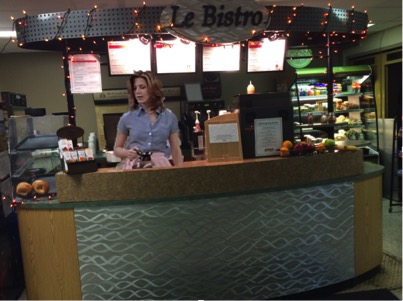 Rachel working at Le Bistro in Gordon Science Center